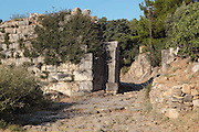 East gate in the city wall, 4th century BC, Priene, Aydin, Turkey. The city wall is approximately 6m high and about 2m wide. Priene was an ancient Greek city in Ionia, originally sited on the sea coast on a steep hill, although the site is now inland. Picture by Manuel Cohen