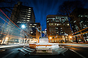 Light trails around the Thompson Elk fountain in downtown Portland.