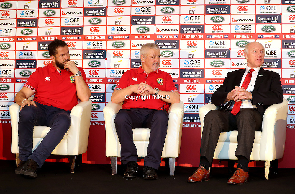 British &amp; Irish Lions Coaching Team Announcement for 2017 Tour to New Zealand, Carton House, Co. Kildare 6/12/2016<br /> WARREN GATLAND today announced the coaching team for the British &amp; Irish Lions 2017 Tour to New Zealand.<br /> Steve Borthwick (England), Andy Farrell (Ireland) and Rob Howley (Wales) will assist Gatland for the 10-game Tour next June and July.<br /> The trio will work with their respective countries for the RBS 6 Nations before joining the Lions ahead of the Squad Announcement on April 19, 2017. The Lions Management Team will be announced in early January.<br /> Pictured (L-R) Coach Andy Farrell, Head Coach Warren Gatland and Manager John Spencer <br /> Mandatory Credit &copy;INPHO/Dan Sheridan