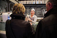 Rome, Italy - December 12, 2014: Serving up gelato at Come il Latte in Rome. Come il Latte is an artisnal gelateria that focuses on quality ingredients rather than outrageous flavors. CREDIT: Chris Carmichael for The New York Times