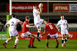 Aaron Hinkley of England U20 catches the ball - Mandatory by-line: Robbie Stephenson/JMP - 22/02/2019 - RUGBY - Zip World Stadium - Colwyn Bay, Wales - Wales U20 v England U20 - Under-20 Six Nations