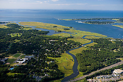 The Lieutenant River where it empties into the mouth of the Connecticut River in Old Lyme, Connecticut.  Aerial.  Long Island Sound.