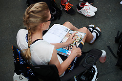 Emilia Fahlin (SWE) checks the road book before Lotto Thuringen Ladies Tour 2018 - Stage 3, a 131 km road race starting and finishing in Schleiz, Germany on May 30, 2018. Photo by Sean Robinson/Velofocus.com