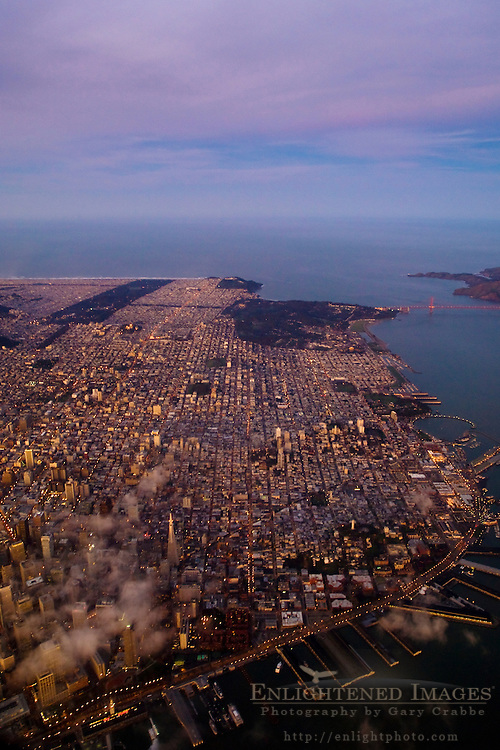 Aerial at dawn over downtown San Francisco and the Golden Gate, California
