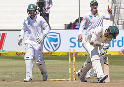 Durban. 020318. Mitchell Starc of Aystralia is bowled by Keshav Maharaj of South Africa during the Sunfoil Test match played at Kingsmead, Durban. Picture Leon Lestrade/African News Agancy/ANA.