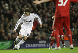 Gonzalo Higuain tries to make up ground for Madrid..Uefa Champions League, First knock-out round, second leg.Liverpool v Real Madrid. Anfield.10.03.09.