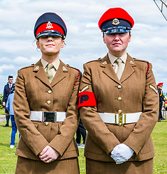 Pictured: : Lauren, AGC and Kate, RMP, as the Yeomanry receive Freedom of East Lothian, Dunbar, East Lothian, Scotland, United Kingdom, 06 July 2019. The historic Lothians and Border regiment is granted Freedom of East Lothian by Councillor Jim Goodfellow, East Lothian Council's Armed Forces Champion, which is accepted by Major S J Vine. The Yeomanry's links with the county date back to 1797.<br /> Sally Anderson | EdinburghElitemedia.co.uk