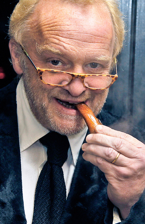 The Taste Cumbria Gala Dinner at New House Farm, Lorton, Cockermouth...Celebrity chef Antony Worrall Thompson samples a piece of pork crackling from the hog roast before the gala dinner...Pics by Ben Russell