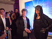 GRACE JONES; CHRIS LEVINE, Stillness at the Speed of Light exhibition. Chris Levine series of  portraits of  Grace Jones.  VINYL FACTORY. POLAND ST. LONDON. 29 APRIL 2010 *** Local Caption *** -DO NOT ARCHIVE-© Copyright Photograph by Dafydd Jones. 248 Clapham Rd. London SW9 0PZ. Tel 0207 820 0771. www.dafjones.com.<br />