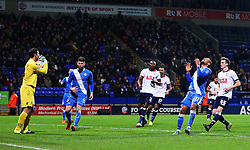 Eastleigh's Ross Lafayette rues a missed chance - Mandatory byline: Matt McNulty/JMP - 19/01/2016 - FOOTBALL - Macron Stadium - Bolton, England - Bolton Wanderers v Eastleigh - FA Cup Third Round