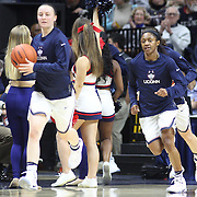STORRS, CONNECTICUT- NOVEMBER 17: Crystal Dangerfield #5 of the UConn Huskies enters the arena for her home debut before the UConn Huskies Vs Baylor Bears NCAA Women's Basketball game at Gampel Pavilion, on November 17th, 2016 in Storrs, Connecticut. (Photo by Tim Clayton/Corbis via Getty Images)