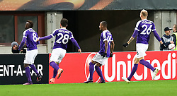 03.11.2016, Ernst Happel Stadion, Wien, AUT, UEFA EL, FK Austria Wien vs AS Roma, Gruppe E, im Bild Torjubel Olarenwaju Kayode (FK Austria Wien), Christop Martschinko (FK Austria Wien), Felipe Augusto Rodrigues Pires (FK Austria Wien), Raphael Holzhauser (FK Austria Wien) // during a UEFA Europa League group E match between FK Austria Vienna and AS Roma at the Ernst Happel Stadion, Vienna, Austria on 2016/11/03. EXPA Pictures © 2016, PhotoCredit: EXPA/ Alexander Forst