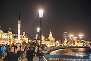 Buildings along The Bund at night