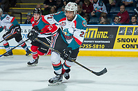 KELOWNA, CANADA - APRIL 8: Devante Stephens #21 of the Kelowna Rockets skates against the Portland Winterhawks on April 8, 2017 at Prospera Place in Kelowna, British Columbia, Canada.  (Photo by Marissa Baecker/Shoot the Breeze)  *** Local Caption ***