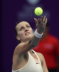 DOHA, Feb. 14, 2018  Petra Kvitova of Czech Republic serves the ball during the single's second round match against Agnieszka Radwanska of Poland at the 2018 WTA Qatar Open in Doha, Qatar, on Feb. 14, 2018. Petra Kvitova won 2-1.   wll) (Credit Image: © Nikku/Xinhua via ZUMA Wire)