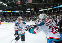 KELOWNA, CANADA - MARCH 7: Tate Coughlin #18 of Kelowna Rockets celebrates a goal against the Spokane Chiefs on March 7, 2015 at Prospera Place in Kelowna, British Columbia, Canada.  (Photo by Marissa Baecker/Shoot the Breeze)  *** Local Caption *** Tate Coughlin;