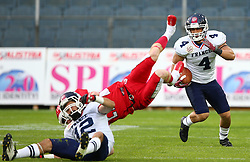 02.06.2014, UPC Arena, Graz, AUT, American Football Europameisterschaft 2014, Gruppe B, Daenemark (DEN) vs Frankreich (FRA), im Bild Paul  Durand , (Team France, WR , #12),  Martin  Jepsen, (Team Denmark, DB, #21) und  Steve  Delaval , (Team France, WR , #4) // during the American Football European Championship 2014 group B game between Denmark and France at the UPC Arena, Graz, Austria on 2014/06/02. EXPA Pictures © 2014, PhotoCredit: EXPA/ Thomas Haumer