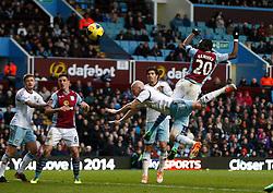 Aston Villa's Christian Benteke hits the crossbar - Photo mandatory by-line: Matt Bunn/JMP - Tel: Mobile: 07966 386802 08/02/2014 - SPORT - FOOTBALL - Birmingham - Villa Park - Aston Villa v West Ham United - Barclays Premier League