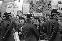 Protest outside the Cutlers Hall, Sheffield at Margaret Thatcher who was attending the Cutlers feast as a guest speaker 28/04/1983