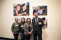 Photographer Jay Dunn with Anahi Alcibar and friends at the December 5th, 2017 opening of the Stories from Salinas exhibition at the CSUMB Salinas Center for Arts and Culture in Oldtown. The exhibition celebrates the mentors, youth and families of the Salinas Youth Initiative.