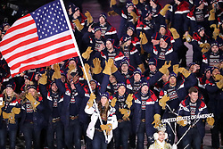 February 9, 2018 - PyeongChang, , South Korea - The USA team marches in, led by flag bearer ERIN HAMLIN during the Opening Ceremony for the 2018 Pyeongchang Winter Olympic Games, held at PyeongChang Olympic Stadium. (Credit Image: © Scott Mc Kiernan via ZUMA Wire)