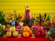 25 AUGUST 2018 - GEORGE TOWN, PENANG, MALAYSIA: The banquet for the ancestors in Kuan Yin Temple on Ghost Day, the full moon day (or night) that falls in the middle of Hungry Ghost month. The Ghost Festival, also known as the Hungry Ghost Festival is a traditional Taoist and Buddhist festival held in Chinese communities throughout Asia. Ghost Day, is on the 15th night of the seventh month (25 August in 2018). During Ghost Festival, the deceased are believed to visit the living. In many Chinese communities, there are Chinese operas and puppet shows and elaborate banquets are staged to appease the ghosts.      PHOTO BY JACK KURTZ