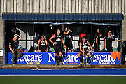 Black Sticks players look on at the bench area. Black Sticks Men vs Korea home test series, Lloyd Elsmore Hockey Stadium, Auckland, New Zealand. Thursday 9th February  2012. Photo: Anthony Au-Yeung / photosport.co.nz