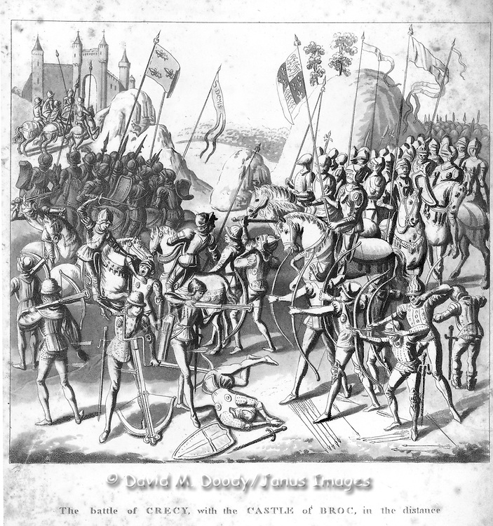 "woodcut ""The Battle of Crecy with the Castle of Broc in the distance"".military, fort, castle, battle, assault, armour, weapons, vintage illustration.From  ""Chronicles of England"" 1806 by Froissart"