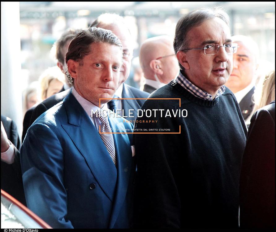 Nella foto Lapo Elkann e Sergio Marchionne..Torino 19 marzo 2011 in occasione della visita il presidente della Repubblica al rinnovato Museo dell'Automobile Lapo Elkann da vero padrone di casa, impeccabile a suo modo: camicia bianca, cravatta grigia e vestito blu elettrico.
