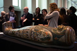 British Museum Ancient Lives press launch. Mummy of Tamut, Chantress of the god Amun, in car tonnage case. About 900BC, British Museum, London, United Kingdom. Wednesday, 9th April 2014. Picture by Daniel Leal-Olivas / i-Images