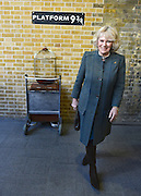 "© Licensed to London News Pictures. 30/01/2013. London, UK HRH Their Royal Highnesses look at the Harry Potter tourist attraction at ""Platform 9 3/4"" The Prince of Wales and HRH The Duchess of Cornwall visit Farringdon Station in London today 30th January 2013. They were carrying out engagements to celebrate London Underground's 150th anniversary.]. Photo credit : Stephen Simpson/LNP"