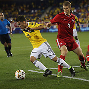 Jaun Fernando Quintero, Colombia, in action during the Colombia Vs Canada friendly international football match at Red Bull Arena, Harrison, New Jersey. USA. 14th October 2014. Photo Tim Clayton
