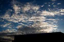 The sun sets behind the silhouette of the Williams Stand  - Photo mandatory by-line: Joe Meredith/JMP - Mobile: 07966 386802 - 22/11/2014 - Sport - Football - Bristol - Ashton Gate - Bristol City v Preston North End - Sky Bet League One