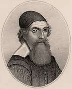 John Tradescant the Elder (1570-c1638) English plant collector, naturalist and gardener. In the service of Charles I.  Employed by Robert Cecil, Lord Wotton and the Duke of Buckingham.  Engraving.