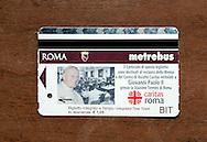 Roma 11 Luglio 2011.Presentatoin Campidoglio il biglietto Papa-BIT Giovanni  Paolo II per contribuire al restauro della mensa e del centro di ascolto della Caritas, Atac metterà in vendita un milione di biglietti con l'immagine di Giovanni Paolo II che andranno a finanziare, nella cifra di 3 centesimi di euro per ogni bit..