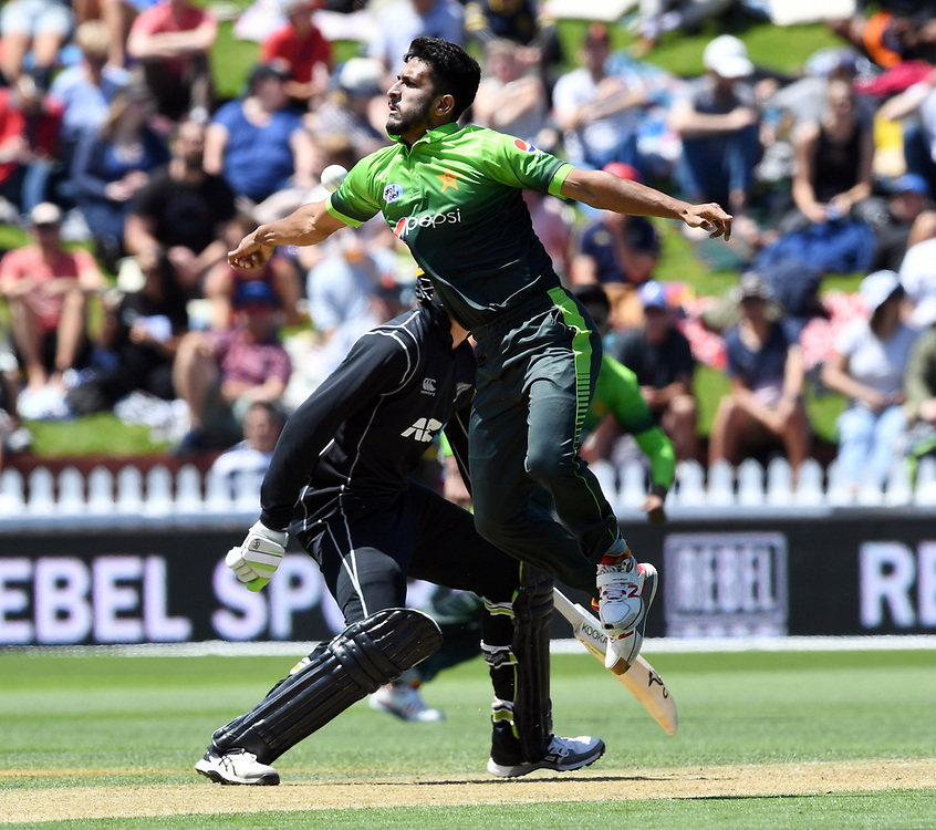 Pakistan's Hasan Ali attempts to field off his own bowling against New Zealand in the first one day cricket international at the Basin Reserve, Wellington, New Zealand, Saturday, January 06, 2018. Credit:SNPA / Ross Setford  **NO ARCHIVING**