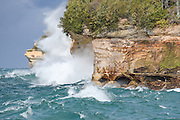 PICTURED ROCKS NATIONAL LAKESHORE - October 2016: With 20mph winds the rough waves of Lake Superior crash on the rocks near Mosquito Beach October 8, 2016. Photographer Bryan Mitchell was this years Artist in Residence at Pictured Rocks National Lakeshore in the Upper Peninsula of Michigan from Oct. 1-17, 2016 near Munising, Michigan. (Photo by Bryan Mitchell)