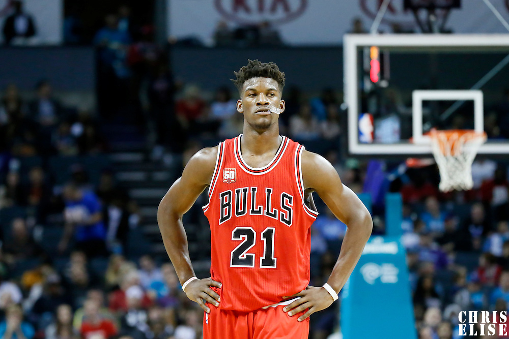 03 November 2015: Chicago Bulls guard Jimmy Butler (21) rests during the Charlotte Hornets  130-105 victory over the Chicago Bulls, at the Time Warner Cable Arena, in Charlotte, North Carolina, USA.