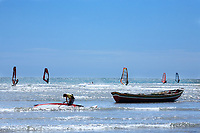 windsurfing in the beautiful fisherman village of Jericoacoara in ceara state brazil
