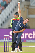 David Masters releasing the ball during the Natwest T20 Blast quarter final match between Nottinghamshire County Cricket Club and Essex County Cricket Club at Trent Bridge, West Bridgford, United Kingdom on 8 August 2016. Photo by Simon Trafford.