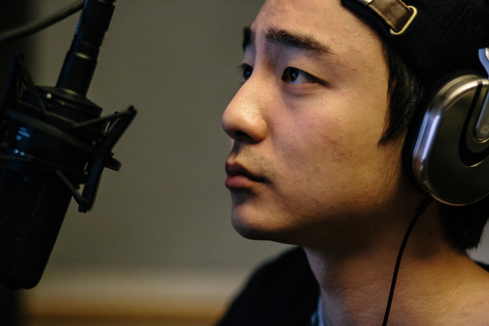 Roy Kim, a Georgetown sophomore, works on recording a song in English for one of his classes. Kim said he enjoys writing songs in English because of the softer way the language sounds when sung. Kim became a South Korean pop star after winning Superstar K4, his country's version of American Idol.