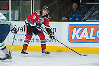 KELOWNA, CANADA - OCTOBER 11:   Justin Kirkland #23 of  the Kelowna Rockets looks for the pass against the Seattle Thunderbirds on October 11, 2013 at Prospera Place in Kelowna, British Columbia, Canada (Photo by Marissa Baecker/Shoot the Breeze) *** Local Caption ***