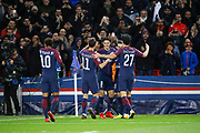Edinson Roberto Paulo Cavani Gomez (psg) (El Matador) (El Botija) (Florestan) scored a new goal, celebration with Angel Di Maria (psg), Giovani Lo Celso (PSG), Javier Matias Pastore (psg), Neymar da Silva Santos Junior - Neymar Jr (PSG) during the UEFA Champions League, Group B football match between Paris Saint-Germain and Celtic FC on November 22, 2017 at Parc des Princes stadium in Paris, France - Photo Stephane Allaman / ProSportsImages / DPPI