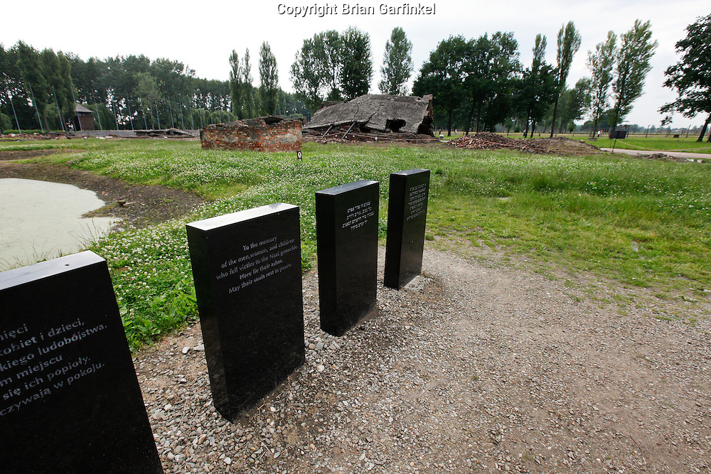 A memorial in front of a destroyed crematorium in Auschwitz-Birkenau Concentration Camp in Poland on Tuesday July 5th 2011.  (Photo by Brian Garfinkel)