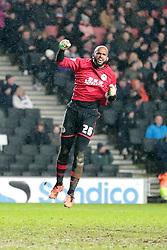 Wigan Athletic's Ali Al-Habsi celebrates Wigans second goal - Photo mandatory by-line: Nigel Pitts-Drake/JMP - Tel: Mobile: 07966 386802 14/01/2014 - SPORT - FOOTBALL - Stadium MK - Milton Keynes - MK Dons v Wigan Athletic - FA Cup - Third Round replay
