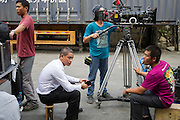 GUANGZHOU, CHINA - OCTOBER 02: (CHINA OUT)<br /> <br /> Chinese Obama Imitator<br /> <br /> Xiao Jiguo (L2) who is famous for imitating American President Obama rests after shooting a scene of a comedy at a warehouse on October 2, 2015 in Guangzhou, China. Xiao Jiguo, born in Sichuan province, was well-known as an imitator of American President Barack Hussein Obama after acting in a Chinese entertainment program. He became a star among the commercial events and acted in a comedy during the Chinas National Day Holiday in Guangzhou.<br /> ©Exclusivepix Media