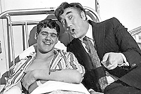 British comedian Frankie Howard meets Guardsman Malcolm Rounding from Hull, Yorkshire, England, UK, during a visit to the Military Wing of Belfast's Musgrave Park Hospital. Rounding was injured whilst serving in N Ireland. 197302020075a..Copyright Image from Victor Patterson, 54 Dorchester Park, Belfast, UK, BT9 6RJ..Tel: +44 28 9066 1296.Mob: +44 7802 353836.Voicemail +44 20 8816 7153.Skype: victorpattersonbelfast.Email: victorpatterson@mac.com.Email: victorpatterson@ireland.com (back-up)..IMPORTANT: If you wish to use this image or any other of my images please go to www.victorpatterson.com and click on the Terms & Conditions. Then contact me by email or phone with the reference number(s) of the image(s) concerned.