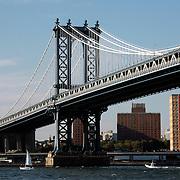 Boats under Manhattan Bridge