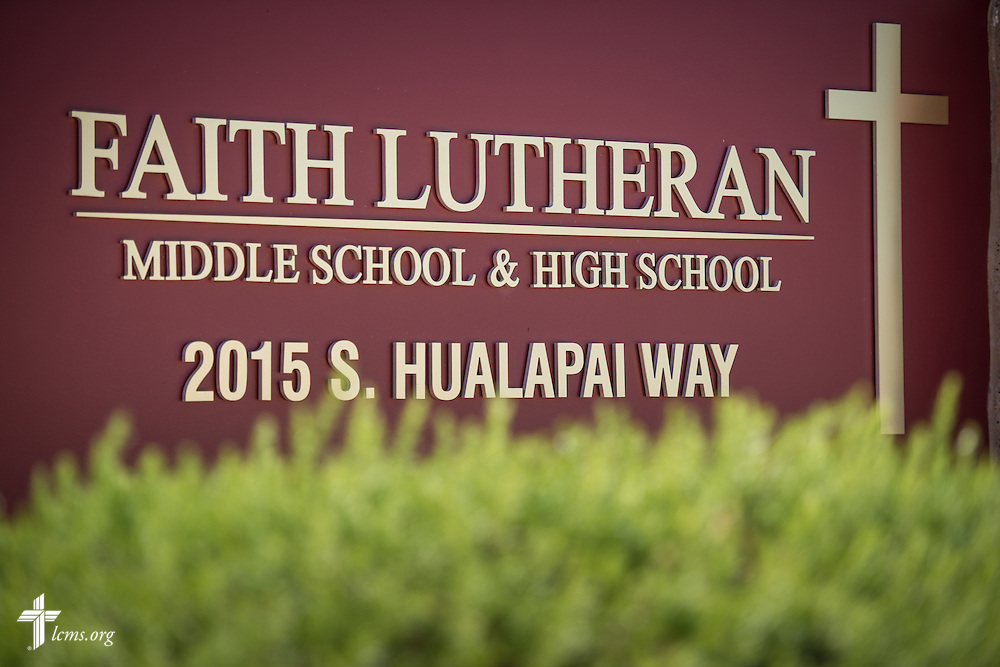 A sign at the entrance to Faith Lutheran Middle School & High School on Tuesday, May 26, 2015, in Las Vegas, Nev.  LCMS Communications/Erik M. Lunsford
