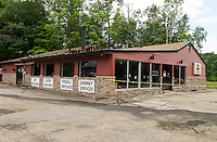 Fire damage at Fire n' Stone in Tilton Tuesday.  (Karen Bobotas/for the Laconia Daily Sun)